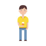 Flat illustration of a boy with an ice cream Royalty Free Stock Photos