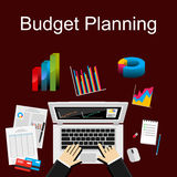Flat illustration of budget planning, market analysis. Financial accounting Royalty Free Stock Photography