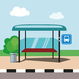 Flat illustration bus stop on blue sky background in cartoon style. Vector, EPS10. Stock Image