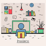 Flat illustration for Business Freelance. Stock Photography