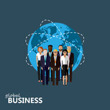 Flat illustration of business or politics community. a gr. Oup of men and women (business community or politicians) wearing suits, ties and dresses. summit or Stock Illustration
