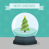 Flat illustration of christmas snow ball Royalty Free Stock Photos