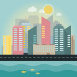 Flat illustration of a city Stock Images