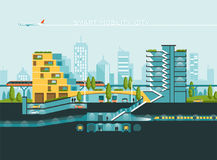 Flat illustration with city landscape. Transport mobility and smart city. Traffic info graphics design elements. Flat illustration with city landscape Stock Photos