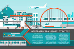 Flat illustration with city landscape. Transport mobility and smart city. Traffic info graphics design elements Royalty Free Stock Images
