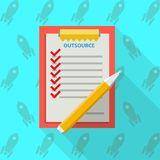 Flat illustration of clipboard for outsource. Red clipboard with some list for outsource with red marks and yellow pen. Flat illustration on blue background with Royalty Free Stock Photography