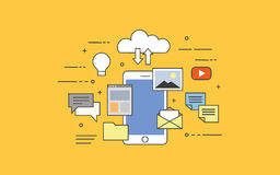 Flat  illustration of cloud for smartphones. All in your device or in cloud storage. Flat  illustration. Concept illustration of mobile technologies Royalty Free Stock Photo