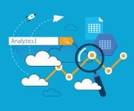 Flat illustration clouds data analytics Stock Images