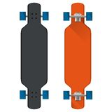 Flat illustration of colored longboards Stock Photos
