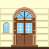 Flat illustration of commerce building facade door Stock Photo