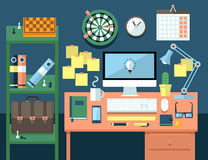 Flat illustration concept of office workspace. Stock Photo