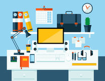 Flat illustration concept of office workspace. Stock Image