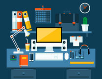 Flat illustration concept of office workspace. Stock Images