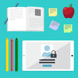 Flat illustration concepts for education, online tutorials, rese Royalty Free Stock Image