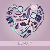 Flat illustration of cosmetic elements Stock Photography