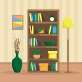 Flat illustration of a cozy bookcase with books, clock, plants. And boxes. The floor lamp and the vase with driftwood. Flat style vector royalty free illustration