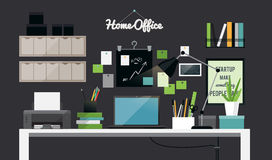 Flat illustration of dark home office workspace interior Royalty Free Stock Images