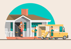 Flat illustration delivery concept. Stock Images