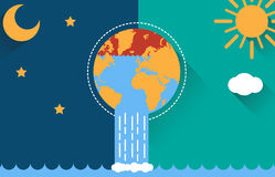 Flat illustration Design Of The Earth Day and Night Royalty Free Stock Photography