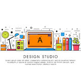 Flat illustration of Design Studio. Stock Image