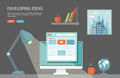 Flat  illustration of desktop with computer and lamp Stock Photography