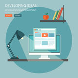 Flat illustration of development ideas. Desktop with computer an Royalty Free Stock Images