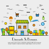 Flat illustration for Discount and Bonuses. Stock Image