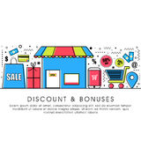 Flat illustration for Discount and Bonuses. Stock Photo