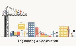 Flat illustration of Engineering and Construction. Modern flat style illustration of Engineering and Real Estate Construction Service, Building Architecture Stock Image