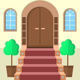 Flat illustration of facade doors with stairs Royalty Free Stock Photography