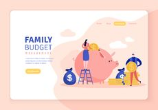 Flat illustration of family budget with piggy bank vector illustration