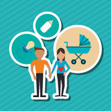Flat illustration of family design, people icon Stock Photos