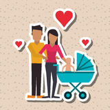 Flat illustration of family design, people icon Royalty Free Stock Image