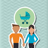 Flat illustration of family design, people icon Royalty Free Stock Photography