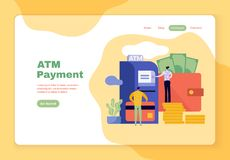 Flat illustration of a family withdrawing money vector illustration