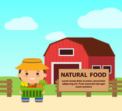 Flat illustration farm, farmer with basket of natural products. Flat illustration of a farm, the farmer with a basket of natural products and labels for text Royalty Free Stock Photo