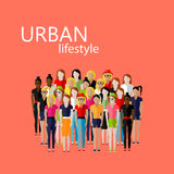 Flat  illustration of female community with a large group of girls and women.  Royalty Free Stock Photography