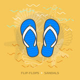 Flat illustration of flip flops against yellow background Royalty Free Stock Photos
