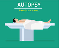 Flat illustration. Forensic procedure. The autopsy. The man is a murder victim. The man is a murder victim lies on a table at the coroner`s. The autopsy of the stock illustration
