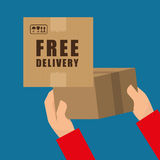 Flat illustration of free delivery design , editable vector Royalty Free Stock Photo