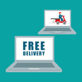Flat illustration of free delivery design , editable vector Stock Image