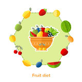 Flat illustration fruit diet. Dish with different fruits and others around on white Stock Images
