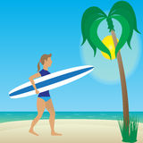 Flat illustration girl with longboard on beach. Girl with surfboard in hands on the beach vector illustration