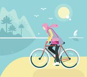 Flat illustration girl ride bicycle with hijab at the beach and soft pastel color Royalty Free Stock Photo