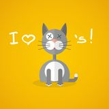 Flat illustration with gray cat Royalty Free Stock Images