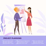 Flat Illustration Group People Working on Project. Banner Vector Guy and Girl Stand near Whiteboard Project Planning to Create Successful Project. Working stock illustration