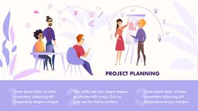 Flat Illustration Group People Working on Project. Banner Vector Guy and Girl Stand near Whiteboard Project Planning to Create Successful Project. Bearded Man vector illustration