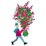 Flat illustration with guy buying bouquet of flowers. Flat vector Greeting Card illustration  on white background with guy buying bouquet of flowers for Royalty Free Stock Photos