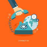 Flat illustration of hand holding phone with icons. Contact us. Royalty Free Stock Photos