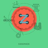 Flat illustration for handmade. Red button Stock Photo